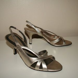 Strappy Metallic Gold Heels Size 10